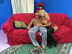 MILF blonde with enormously big tits gets her pussy fucked. After sex dude sprays his cum all over her huge tits