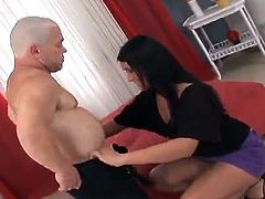 Carmen Black is going to have a wild sex with this small man midget. His tiny cock is in her mouth and now she spreads her legs for him.