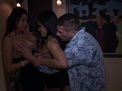 A bunch of fuckin' slutty bitches suckin' dick and gettin' nailed big time in this amazing orgy scene right here, hit play and check it out!