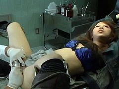 Checkout this sexy long haired Japanese woman is restrained and hand tied behind her back while her pussy is closely inspected.See how she screams in passion and enjoyment when her partner uses multiple vibrators inside her pussy at the same time to use her pussy.Enjoy this hot hairy babe in this hot bdsm.