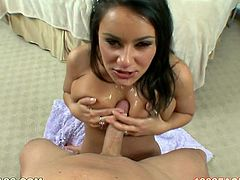 Juggy brunette babe Charley Chase massages her big boobs and gives blowjob