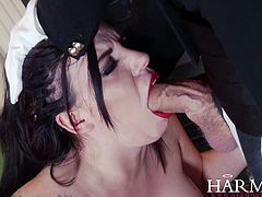 Attractive whore in black corset sucks the dick and gets fucked by the guy in mask after her pussy got whipped hard by the sexy slut. Have a look at this chicks in Harmony Vision sex video.