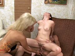 Tattooed brunette slut got her pussy invaded hard from behind by that thirsting dude. Meanwhile she provided her rapacious blond babe with nice cunnilingus. Take a look at this hot 3 some in My XXX Pass porn video!