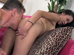 This black haired young babe really knows, how to entice her step dad. She lifts up her shirt, to show him her perky tits and now, he really wants to suck on them. He doesn't stop there and shoves his face in her ass crack.