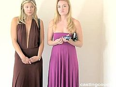 Casting Couch HD brings you a hell of a free porn video where you can see how two nasty blonde sluts share a big rod of black meat while assuming very interesting poses.