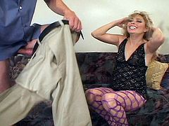 Lovely whore bitch Rallee Dean fucks a big hard rock cock in the ass wearing fishnets. She lies on the couch as it is her first time taking it in the ass  but looks like a pro on camera!