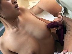 Kaori Otonashi meets a plumber being naked. She fondles her bald pussy sitting on a bathtub and also strokes plumber's dick. In the end the guy cums on Kaori's tits.