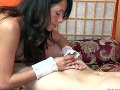 Naughty brunette sucks small cock standing on her knees. She playfully jerks it off and then sends it deep in her throat. This exciting white ghetto sex tube video is worth your time.