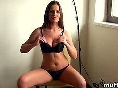 Walleria is a big boobed babe who sits on a chair in black lingerie. She takes her bra off and then her panties. Next, she caresses her bald cunt in front of the cam.