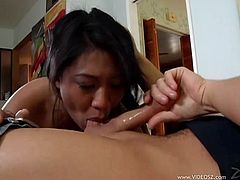 Make sure you have a look at this hot scene where the sexy Lyla Lei sucks and deep throats a guy's thick cock until the point where she chokes on her own spit.