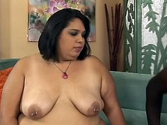 Masturbate watching this bruenette BBW, with big nipples wearing sexy lingerie, while she has interracial sex over a couch. She's a naughty woman!