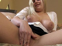 A beautiful blonde babe unbuttons a shirt to show off her juicy boobs. Alison also lifts a miniskirt up and plays with her nice pussy.