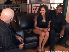 Screw My Wife Club brings you a hell of a free interracial video where you can see how an alluring ebony swinger gets fucked in front of her man by a horny white dude.