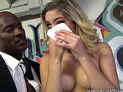We see the aftermath of Lia's interracial scene that leaves her pretty face covered in cum so she has to jump in the shower and clean off.