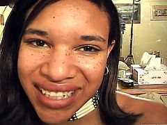 Attractive ebony girl poses for camera showing off her natural beauty. She then gives head to a mature man showing her skills in blowjob. Later on she gets fucked in a missionary position.