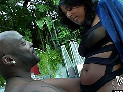 Busty and torrid brunette Evanni has some good time with her man by the pool. He licks her pussy and in return she sucks his big cock.