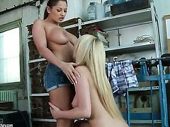 Brunette Patricia Dream with massive breasts takes Alison Star s fingers in her honeypot