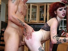 Two cocks for two tight vags in a rough foursome hardcore fuck scene