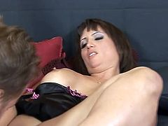 Share this with your friends! Watch a brunette cougar, with big jugs wearing sexy lingerie, while she gets blasted hard in a reality video.