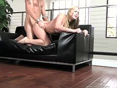 A gorgeous blonde slut sucks on a hard cock and then takes it up the fuckin' gash, it's fuckin' amazing. Check it out right here!