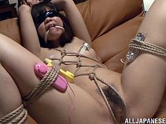 Tied up Japanese girl Koharu Aoi gets her shaved cunt pounded with a vibrator. Then some dude fucks her pussy in missionary position and she moans sweetly with pleasure.
