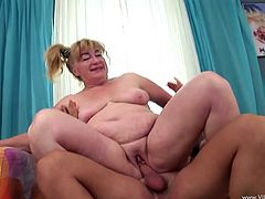 Get excited watching this mature blonde, with a big ass and natural breasts, while she gets nailed hard in different positions by a lusty guy.