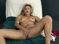 Busty blonde babe Embry Prada decided to have some kinky solo action for all of her horny fans out there. She opens her legs wide and rubs herself to climax.