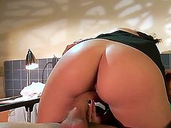 Dark haired nympho nurse Brooke Lee with natural tits and round bouncing ass gives head to handsome patient Danny Mountain and rides on his stiff cock to loud orgasm.