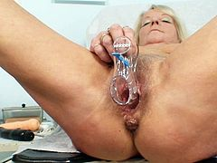Her hairy old twat received amazing stimulation from dirty gyno