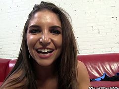 Sexy Giselle shows off her megawatt smile as she hangs out backstage at a shoot and chats as she gets ready to shoot her scene.