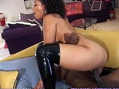 Big black guy likes to fuck only black chicks because his fat cock doesn't fit white pussy. So, today his victim is dark haired booty babe. Have a look at this bitch in My XXX Pass sex video.