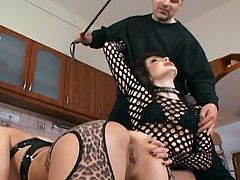 One horny mistress punishes sexy babe wearing leopard print lingerie. She spreads her buttocks and spanks her gorgeous ass. Enjoy watching extremely hot BDSM sex tube video.