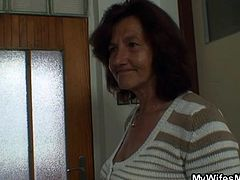 This guy think, he's going to get some hot sex from his wife, but he is wrong. She rubs his groin and taunts him with her whip. He's tied to the bed. Just as he thinks he can fuck her, she leaves the room and locks him in. Instead the mother in law comes in and has her way with him.