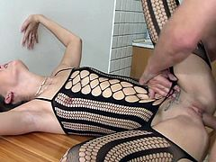 Watch her spreading those fine legs to make way for this huge cock