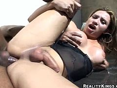 Check this cute shemale, with giant love pillows wearing nylon stockings, while she gets fucked hard and moans like a slutty ladyboy.