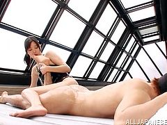 Tsukasa Aoi gives a blowjob right in the swimming pool. She also licks guy's toes and then gets fucked in her wet pussy.