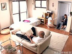 A hot Asian babe gets seduced in an apartment by a married guy. The girl lifts a skirt up and gets fingered first. Then she sucks the guy off and gets pounded on a floor. She also gets her face cum covered.