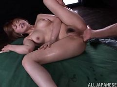 A pleasurable Japanese girl gets her big boobs massaged and pussy fingered in front of several guys. Arisa also gets fucked in her soaking wet pussy. In the end she gets her face cum covered with big loads of sperm.