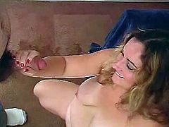 She is a hunger girl and she is going to get on her knees to feel how fast her man's cock gets big. She takes it in her mouth and then rubs it!