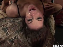 Blowjobs HD brings you a hell of a free porn video where you can see how the alluring brunette temptress Bobbi Starr gets throatbanged and pissed on by a horny dude.