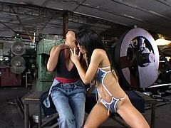 Have a blast watching these lesbian brunettes, with nice asses wearing sexy dress, while they play with wicked toys on each other's pussies.
