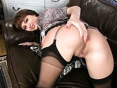 Roxanne Milana is too horny to stop rubbing her love tunnel