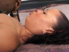 Horny an slutty dark haired whore with awesome body and nice boobs gets her dripping cunt drilled hard on the bed and sucks the tool. Have a look at this babe in My XXX Pass sex clip.