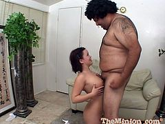 Spectacular Kacey Starr Gets A Facial Cumshot From A Fat Guy