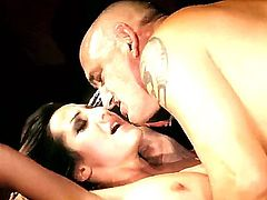 Yoummy babe Alice Romain gets seduced and nailed really hard by bald old dude craving for young pussy