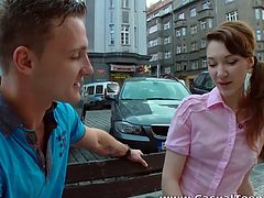 Cute teen chick agrees to have casual sex with the guy she just met on a street. When the couple get indoors the girl starts sucking hard dick right away. Then she gets fucked in various positions. Check this out.