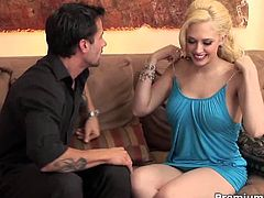 Watch the slutty blonde belle Kagney Linn Karter giving her man a hell of a blowjob before her tight pussy gets drilled balls deep into kingdom come while assuming very hot poses.