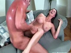 Busty MILF slut Sara Stone is ready to experience some hardcore banging by a big dicked beefy dude. He shows no mercy and nails her cunt for a big cumshot on her boobs.