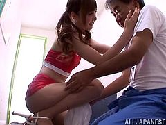 Adorable Kaede Fuyutsuki gives pleasure to some man who is much older than her. This pretty Japanese babe gives a footjob and a blowjob. Of course Kaede takes cum in her mouth.
