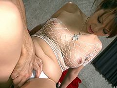 Beautiful Japanese babe allows one kinky guy to touch her big tits covered with fishnet. her hairy pussy is so insatiable. Just enjoy watching sex toy penetrating her hairy muff.